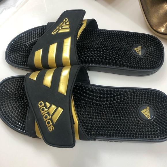Adidas Mens Black Gold Slides Sz 7